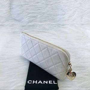 CHANEL Quilted Leather Heart Charm Pouch White